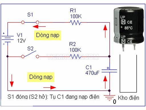 sơ đồ nguyên lý hoạt động của tụ điện