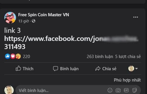 chạy spin coin master qua link kết bạn facebook