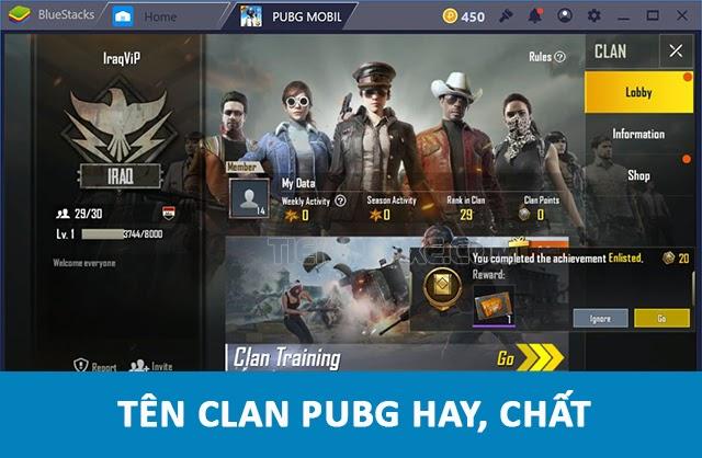 tên clan hay trong game PUBG